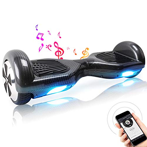 TOEUBEBK BEBK 6.5 Zoll Hoverboard, Self Balancing Scooter mit Bluetooth Lautsprecher - Tragetasche - LED Lights Elektro Scooter (Schwarz)
