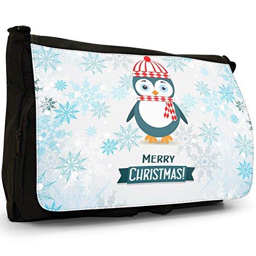 Winter Wonderland fiocchi di neve animali–Borsa Tracolla Tela Nera Grande Scuola/Borsa Per Laptop Penguin Wearing Scarf & Hat