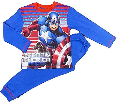 Jungen Superheld Pyjama Set Comic Zeichen Marvel Dc Helden - Captain America Rot Blau Streifen, 122-128
