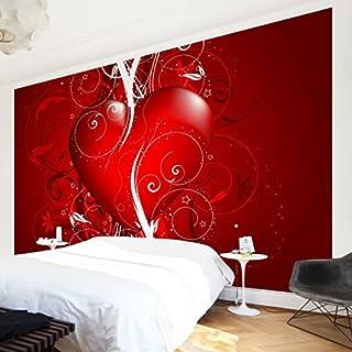 APALIS Non-Woven Wallpaper Floral Heart Wallpaper, Fleece Photo Wallpaper Wall Mural Red, 108070–682813–1374993
