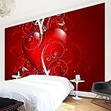 Apalis Vliestapete Floral Heart Fototapete Breit | Vlies Tapete Wandtapete Wandbild Foto 3D Fototapete für Schlafzimmer Wohnzimmer Küche | rot, 108070