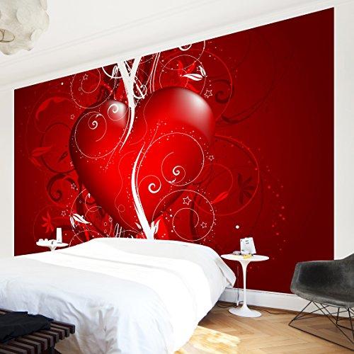 Apalis Vliestapete Floral Heart Fototapete Breit   Vlies Tapete Wandtapete Wandbild Foto 3D Fototapete für Schlafzimmer Wohnzimmer Küche   rot, 108070