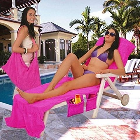 Hunpta Plage Serviette de bain Bain de soleil Buddy Sac Garden Lounge de vacances avec poches de voyage, rose