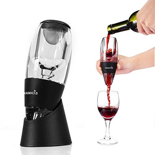 EASEHOLD Décanteur aérateur à Vin Décanteur Rapide Aérateur à Vin Carafe à décanter avec Vin amovible Filtre Accessoires du Vin - Noir