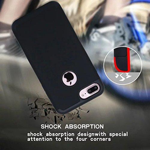 iPhone 7 Plus hüll,Lantier Slim Matt Matt Finish Design Shockproof 2 in 1 Combo Defender Schutz zurück hüll Deckung für Apple iPhone 7 Plus 5,5 Zoll Grau+Hellgrün Black