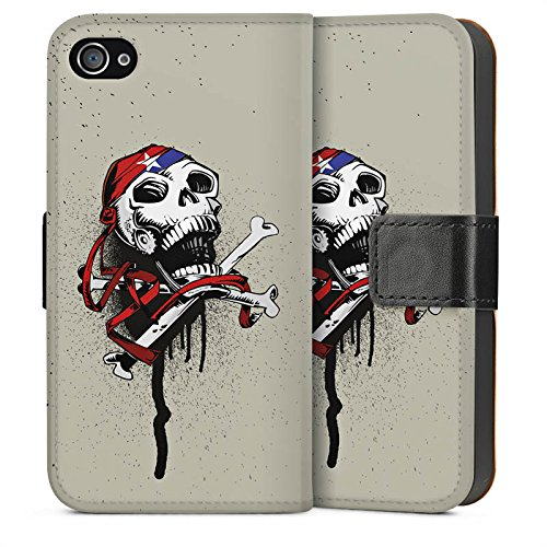 Apple iPhone 6 Housse Étui Silicone Coque Protection Pirate Mort Tête de mort Sideflip Sac