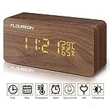 FLOUREON Digitale Wecker, LED Display Holzuhr mit 2 Stromversorgungsmodi, 3 Helligkeit, Datum Uhrzeit, Temperatur und Luftfeuchtigkeit (Bambus)