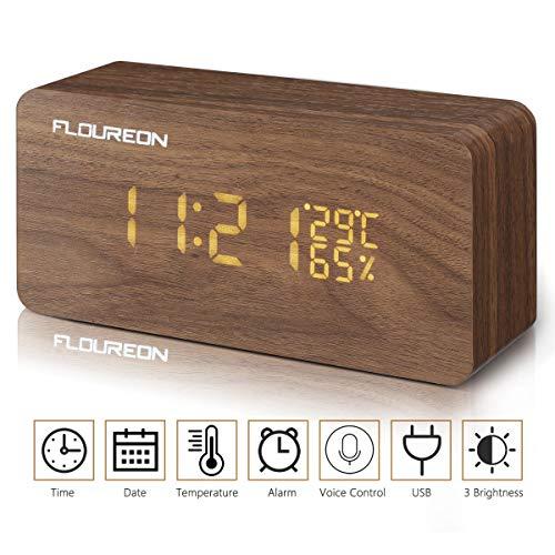 FLOUREON Sveglia da Comodino Silenziosa Orologio Digitale con Display a LED in Legno con 2 modalità di Alimentazione, Display di Risveglio Vocale, Data Ora Temperatura umidità (bambù)