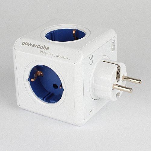 E-stecker Duo (allocacoc PowerCube DuoUSB Original USB Steckdose Mehrfachsteckdosen Dose 230V Schuko 5 Fach EU Stecker Blau)