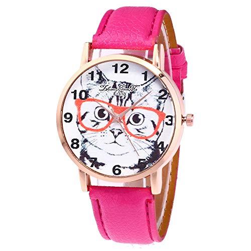 Keepwin Cat Gedruckte Vorwahlknopf-Uhr, Damenmode-beiläufige PU-Lederner Bügel-analoge Quarz-Runde Fall-Uhr (Pink)