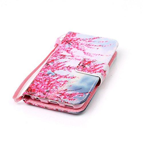 Feeltech Apple iPod Touch 5/6 Hülle,Apple iPod Touch 5/6 Magnet Leder Wallet Cover,Elegant Soft PU Kartenfach Extra Dünn Tasche Bunte Relife-Muster [Stand Funktion] Karte Halterung Klapp hülle Flip Bo Zwetschge Blüte