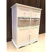 Home Delights White Storage Unit 2 Cupboard 2 Wicker Drawer Basket Flower Pink Girls Furniture