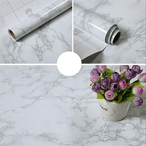 JYPHM Marmor Papier Granit Roll Küchenarbeitsplatte Kabinett Möbel ist dicke wasserdichte PVC-Tapete leicht zu entfernen, ohne Spuren zu hinterlassen Upgrade 60x500cm(23.6x196.8Zoll)