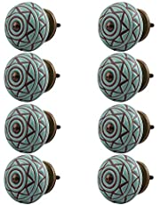 Indian-Shelf Handmade Ceramic Etched Kitchen Knobs Etched Furniture Pulls Cabinet Handle(Green, 1.5 Inches)-Pack of 8