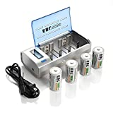 #7: EBL D Cells 10000mAh Rechargeable Battereis (4 Counts) with C D 9V AA AAA Battery Charger