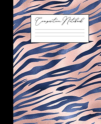 Composition Notebook: College Ruled Notebook | Navy Blue Blush Faux Rose Gold | Tiger Stripes Animal Print | Lined School Journal | 120 Pages |  7.5 x 9.25