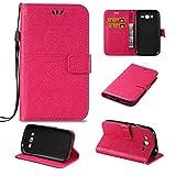 JEEXIA Custodia in Pelle per Samsung Galaxy Grand Neo Plus/Grand Neo (i9060), Retro PU Pelle Flip Cover con Funzione di con Supporto Fondina per Portafogli Stile Classico Elefante - Rosa Rossa