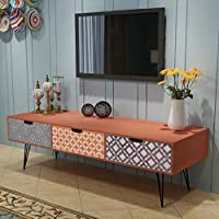 Festnight Retro Sideboard TV Media Cabinet with 3 Drawers Wooden TV Unit Storage Organiser Living Room Furniture Brown