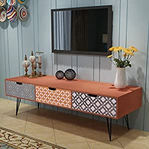 Festnight Retro Sideboard TV Media Cabinet with 3 Drawers Wooden TV Unit Storage Organiser Living Room Furniture Brown