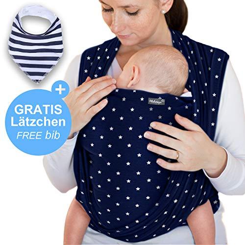 Makimaja - Portabebés hecho de algodón 100% - azul marino con estrellas - portabebés de alta calidad para recién nacidos y bebés hasta 15 kg - incluye bolsa para guardar y babero