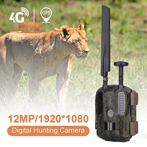 DJLOOKK 4G LTE & GPS Trail-Jagdkamera Trail-Kamera, Wildkamera, Wildlife-Kamera 12MP 1080P Full HD-Jagdkamera, 52 Stück IR LED 120 ° Weitwinkel, Wasserdichte Infrarot-Spiel-Kamera 4,0 (4G)