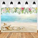 Banner sullo sfondo Spiaggia Fiore Shell Photocall Boda per studio vacanze estive Banner sullo sfondo di compleanno Sfondo Tavolo Fotografia Foto sullo sfondo Poster di sfondo Accessori per