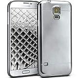 moex Samsung Galaxy S5 | Hülle Silikon Silber Smooth Back-Cover Chrom Matt Silikonhülle Ultra-Slim Schutzhülle Metallic Handy-Hülle für Samsung Galaxy S5 / S5 Neo Case Dünn