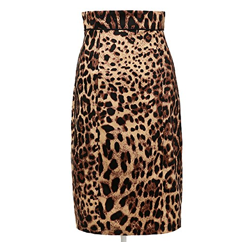 Candow Look women leopard pattern print pencil skirt cotton plus size skirts (Plus-size-print-rock)