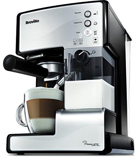 Breville VCF045X PrimaLatte 3 in 1 Kaffeemaschine | Espressomaschine | Kaffeepadmaschine | 15 Bar | für verschiedene Milchtypen geeignet, Weiß/Metallic