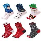 Lantch 6 Paar Unisex Weihnachtssocken Damen/Herren Christmas Socks Mix Design Weihnachtsmotiv Weihnachten Festlicher Baumwolle Socken
