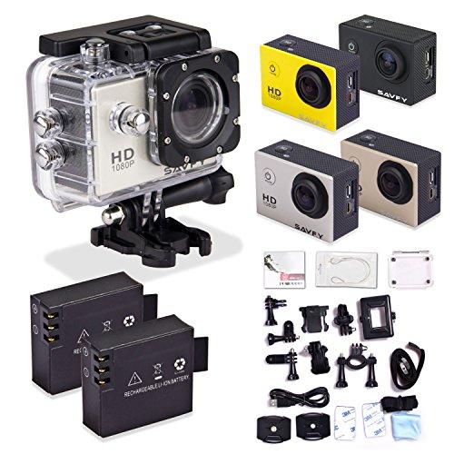 SAVFY® Action Camera Impermeabile, Fotocamera per Sport/ Videocamera Sportiva 1080P con LCD Schermo di 1,5 Indici 12MP, 170 Gradi Ampio Angolo+ Full HD Obiettivo Grandangolare X4 Zoom, Sott'acqua 30m (SJ4000 Argento)