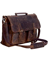 KomalC 18 Inch Retro Buffalo Hunter Piel Laptop Messenger Bag Oficina Maletín College Bag para Hombres y Mujeres