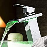 Maple Modern Deck Mounted LED Waterfall Basin Faucet Thermostatic with Ceramic Valve Single Handle One Hole LED Bathroom Tap Mixer