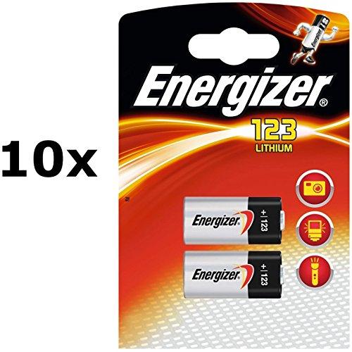 10 x Energizer Original Spezialbatterie Lithium Foto CR123A (3 Volt, 2-er Pack) Energizer 123 Photo