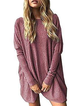 Minetom Mujeres Jersey Mini Vestido Dress Suéter De Punto Cuello O Moda Pullover Sweater Jumper Camisa Larga Suelto...