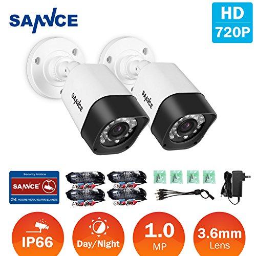SANNCE-Kit-2x-CCTV-TVI-Cmara-de-vigilancia-720P-LED-IR-CUT-Visin-Nocturna-2pcs-60ft-Video-Cable-Sistema-de-seguridad