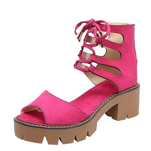 Mee Shoes Damen bequem chunky heels Reißverschluss Sandalen Rosarot