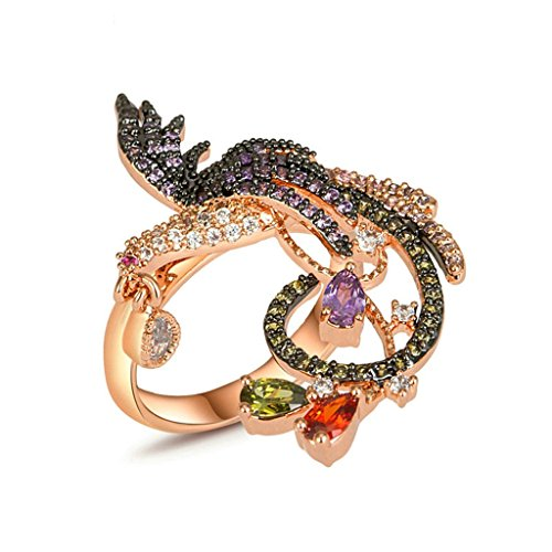 Epinki Damen Ringe, Rose Vergoldet Trauringe Damenringe Verlobungsringe Cubic Zirkonia Prinzessin Ring Unique Phönix Blumen Gr.49 (Kostüm Zelda Krone Prinzessin)