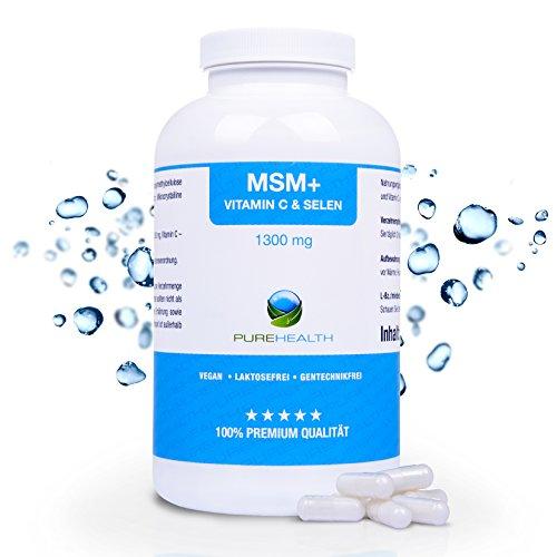 MSM Kapseln Für Immunsystem, Knorpel- und Knochenfunktion 365 Kapseln, 6 Monatsvorrat 1300 mg pro Tagesdosis +Vitamin C & Selen 100% vegan Bekannt aus dem TV Made in Germany