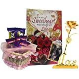 Saugat Traders Love Gift For Girlfriend/Wife | Love Greeting Card, Chocolate Basket & Golden Rose With Love Stand