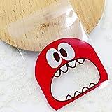 Auntwhale 100pcs Cartoon Monster Candy Bag Sac à Biscuits OPP, Sacs à confiserie Auto-adhésifs pour Bonbons au Chocolat Biscuits Snack Baking Decor Sac