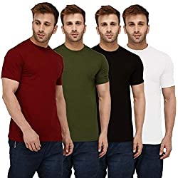 London Hills Solid Men Half Sleeve Round Neck Rust Red, Olive Green, Black, White T-Shirts Combo (Pack of 4)