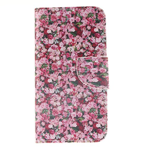 Price comparison product image For Samsung Galaxy S6 Leather Flip Case Cover,Meet de Painted pattern PU Leather Stand Function Protective Cases Covers with Card Slot Holder Wallet Book Design,Soft TPU Silicone Inner Bumper Full Protection Cover Detachable Hand Strap for Samsung Galaxy S6 - Flowers