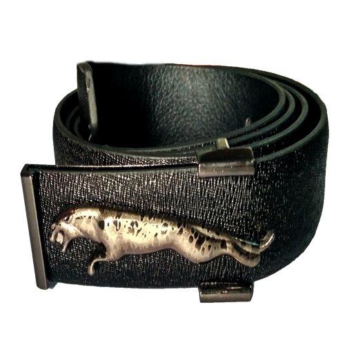 JaisBoy Stylish Branded Look Black Jaguar Buckle Belt For Men's Designer  available at amazon for Rs.349