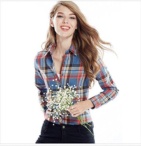 ACVIP Femmes/Fille Étudiante Chemise à Carreaux Simple Manche Longue Revers Blouse Outwear Casuel en Coton,13 Couleurs Bleu+Jaune