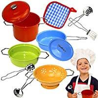 Buyger Kids Pretend Play Toy Kitchen Utensils Set Stainless Steel Pots and Pans for Children