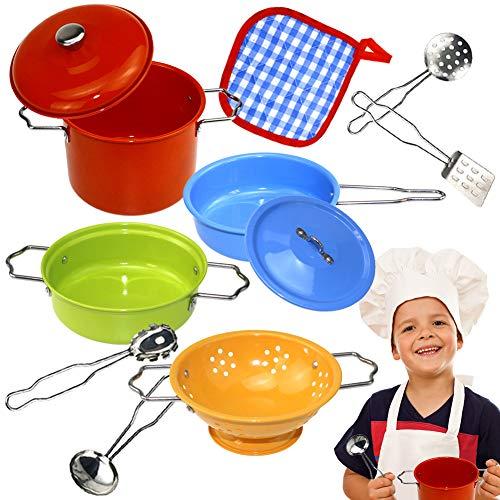 Buyger Cucina Giocattolo per Bambini Set di Pentole e Padelle Cucina Accessori Giocattolo Acciaio Inossidabile per Bambini