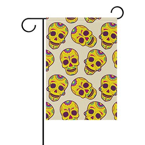 Mexican Sugar Skull-Garten Flagge, wetterfest Flaggen für Jahr rund Outdoor Display doppelseitig Welcome Hartschale 30,5x 45,7cm, T046, Gesponnenes Polyester, mehrfarbig, 28x40(in) (Sugar Skull-fahne)