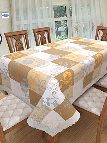 Clasiko 6 Seater PVC Table Cover; White, Beige & Brown Checks With Flowers; Anti Slip; 60x90 Inches; 6 Seater