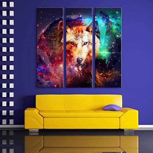 LHKAVE Leinwandbilder Wolf LED blinkende optische Faser drucken LED Wandkunst LED Dekorationen 3er Set,30x90cm*3